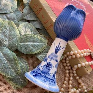 HANDPAINTED Amsterdam Tulip Candleholder Blue